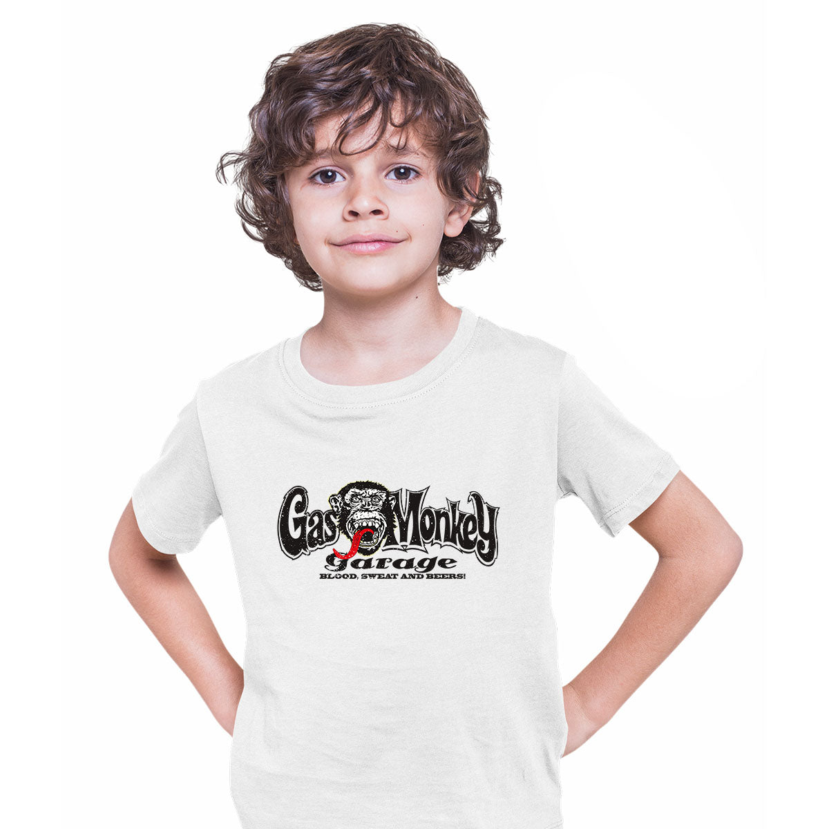 Gas Monkey Garage Blood Sweat and Beers Licensed Fast Loud White Kids T-Shirt