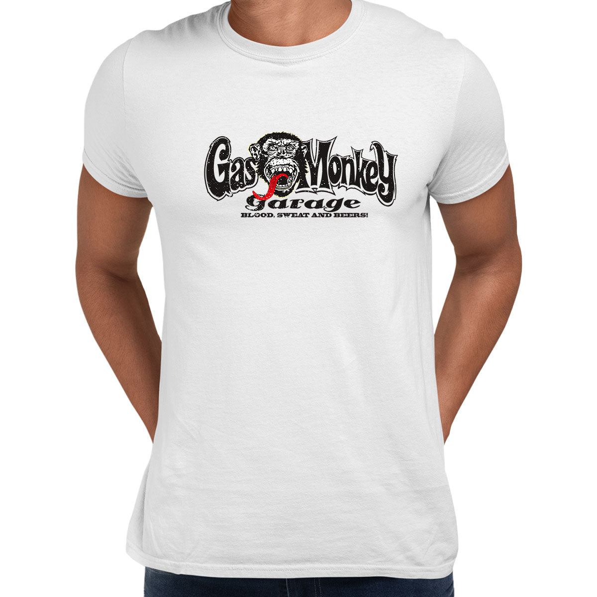 Gas Monkey Garage Blood Sweat and Beers Licensed Fast Loud White Unisex T-Shirt