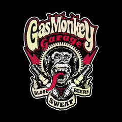 Gas Monkey Garage Spark Plugs Blood Sweat Beers Licensed Black Kids T-Shirt