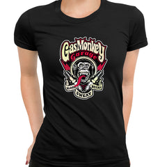 Gas Monkey Garage Spark Plugs Blood Sweat Beers Licensed Black T-Shirt for Women