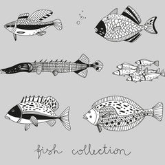 100% Eco T-shirt - Hand Drawn Fish Collection