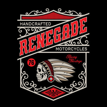 Biker Handcrafted Renegade Motorcycles Funny Skull White T-shirt for Kids