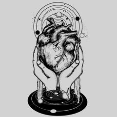 Hands holding heart in the middle of the universe