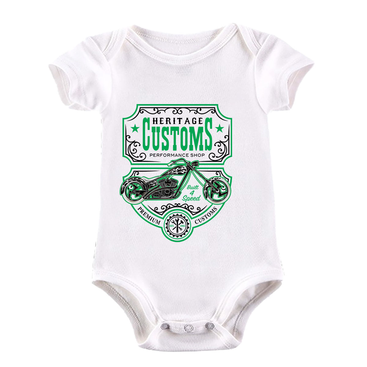 Biker Heritage Customs Motorbike Motorcycle Cafe Racer Chopper Bike White Baby & Toddler Body Suit