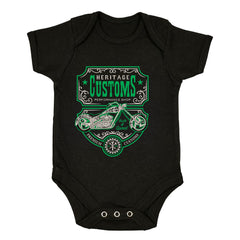 Biker Heritage Customs Motorbike Motorcycle Cafe Racer Chopper Bike Black Baby & Toddler Body Suit