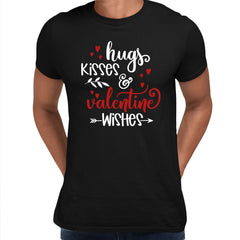 Hugs kisses and valentine wishes Valentines Love T-shirt for men Black Unisex T-Shirt