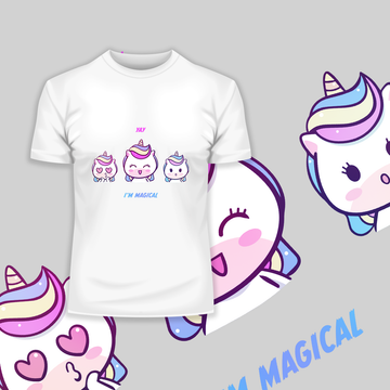 I am Magical Unicorn Emoji OMG YAY Face Expression Mobile Black T-Shirt