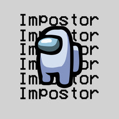Impostor Among Us Gamer Xmas Funny Grey Viral Game Retro White T-Shirt for Women
