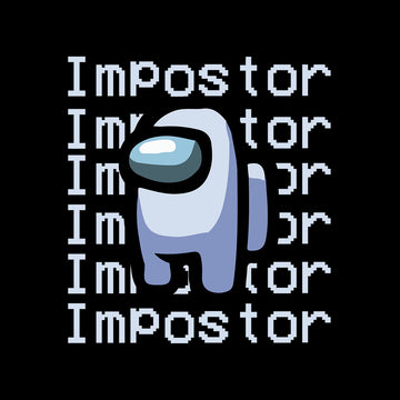 Impostor Among Us Gamer Xmas Funny Grey Viral Game Retro Black T-Shirt for Women