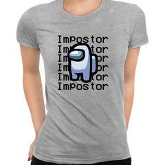 Impostor Among Us Gamer Xmas Funny Grey Viral Game Retro Grey T-Shirt for Women