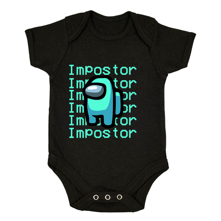 Impostor Among Us Gamer Xmas Funny Light Blue Viral Game Retro Baby & Toddler Body Black Suit