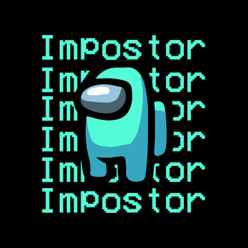 Impostor Among Us Gamer Xmas Funny Light Blue Viral Game Retro White T-Shirt for Women