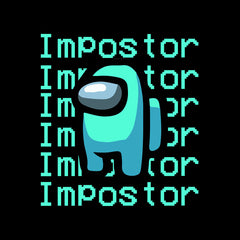 Impostor Among Us Gamer Xmas Funny Light Blue Viral Game Retro Black T-Shirt for Women