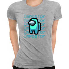 Impostor Among Us Gamer Xmas Funny Light Blue Viral Game Retro Grey T-Shirt for Women