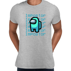 Impostor Among Us Gamer Male Tee Xmas Funny Light Blue Viral Game Retro Grey Unisex T-Shirt