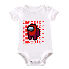 Impostor Among Us Gamer Xmas Funny Red Viral Game Retro Baby & Toddler Body White Suit