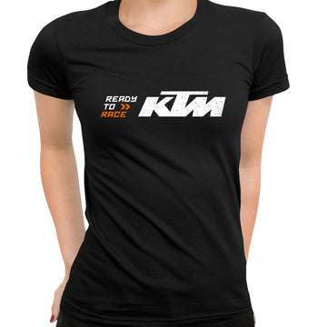 KTM Ready To Race T-Shirt Biker Motorcycle Rider Inspired Racing Bike Cycle Grey T-Shirt for Women