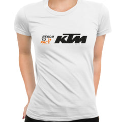 KTM Ready To Race T-Shirt Biker Motorcycle Rider Inspired Racing Bike Cycle White T-Shirt for Women