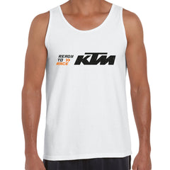KTM Ready To Race T-Shirt Biker Motorcycle Rider Inspired Racing Bike Cycle White Unisex Tank Top