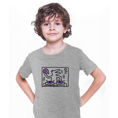 Keith Haring DJ 1988 Talking Heads Abstract Pop Art Heart Grey Kids T-Shirt