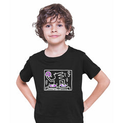 Keith Haring DJ 1988 Talking Heads Abstract Pop Art Heart Black Kids T-Shirt