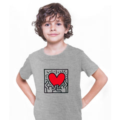 Keith Haring Love Music Talking Heads Abstract Pop Art Heart Grey Kids T-Shirt