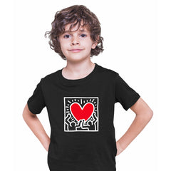 Keith Haring Love Music Talking Heads Abstract Pop Art Heart Black Kids T-Shirt