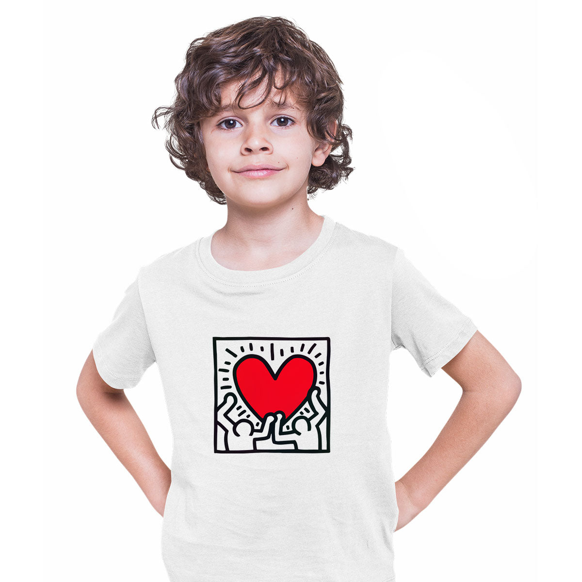 Keith Haring Love Music Talking Heads Abstract Pop Art Heart White Kids T-Shirt