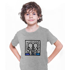 Keith Haring Hugging Pop Art Icon Talking Heads Abstract Grey Kids T-Shirt