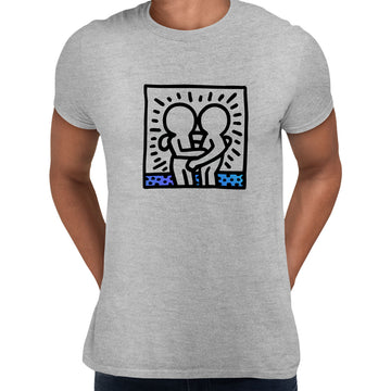 Keith Haring Hugging Pop Art Icon Talking Heads Abstract Black Unisex T-Shirt