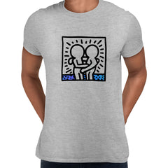 Keith Haring Hugging Pop Art Icon Talking Heads Abstract Grey Unisex T-Shirt