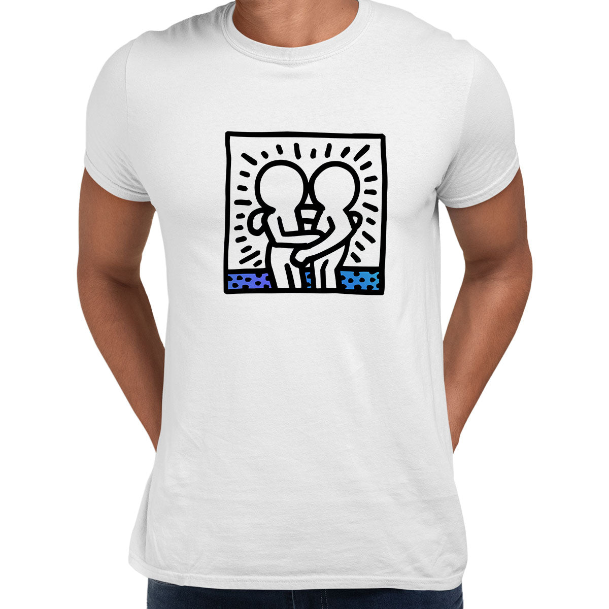 Keith Haring Hugging Pop Art Icon Talking Heads Abstract White Unisex T-Shirt