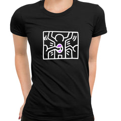 Keith Haring - Pop Art Icon Talking Heads Abstract - Black T-Shirt for Women