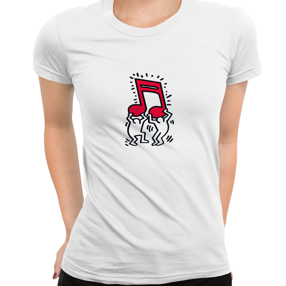 Keith Haring - Music Talking Heads Abstract Pop Art White T-Shirt for Women