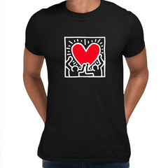 Keith Haring Love Music Talking Heads Abstract Pop Art Heart Black Unisex T-Shirt