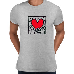 Keith Haring Love Music Talking Heads Abstract Pop Art Heart Grey Unisex T-Shirt