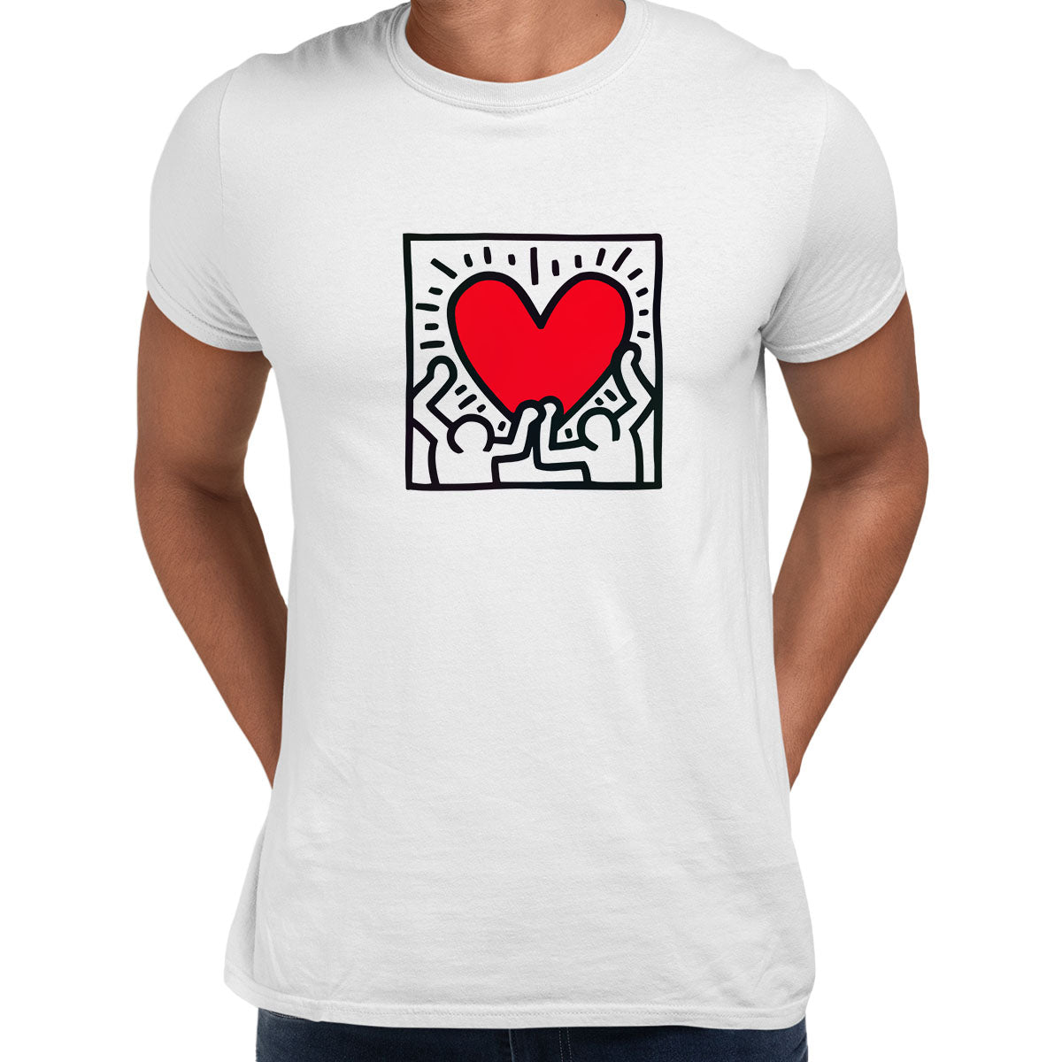 Keith Haring Love Music Talking Heads Abstract Pop Art Heart White Unisex T-Shirt
