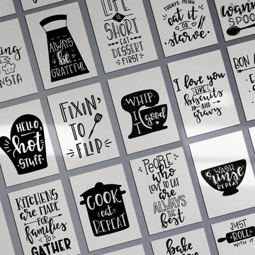Kitchen MOTIVATIONAL Just Roll With It Prints Funny Food Quotes A4 A3+A2 Posters Wall Art Home White