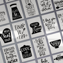 Kitchen MOTIVATIONAL Just Roll With It Prints Funny Food Quotes A4 A3+A2 Posters Wall Art Home Grid