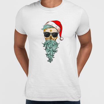 Christmas Santa Hipster Skull With The Glasses
