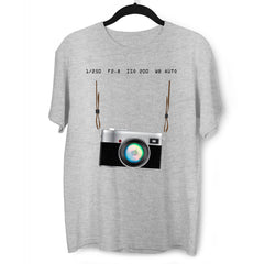 Camera T-Shirt Old Fashion Nostalgia Photographer Grey Tee