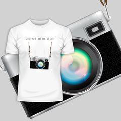 Camera T-Shirt Old Fashion Nostalgia Photographer White and Grey Tee