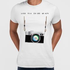 Camera T-Shirt Old Fashion Nostalgia Photographer White Tee