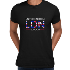 Union Jack LDN Abstract Print Mens T-Shirt Great Britain Flag United Kingdom Black Top