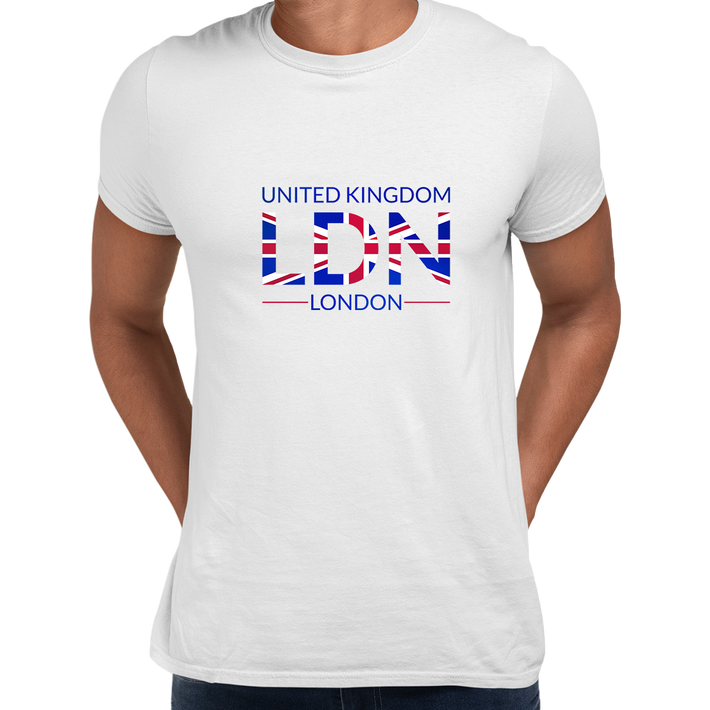 Union Jack LDN Abstract Print Mens T-Shirt Great Britain Flag United Kingdom Top