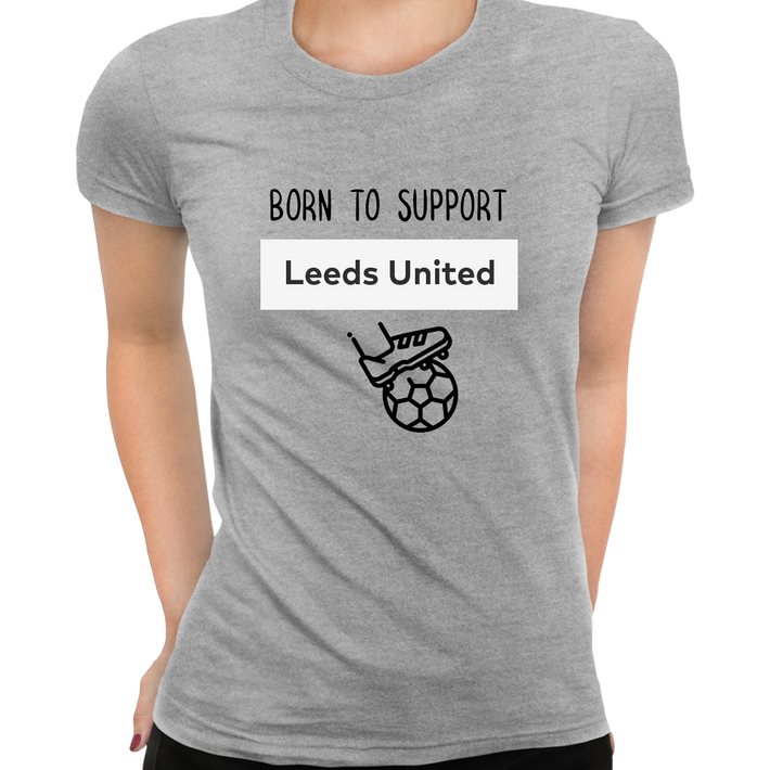 Women Born to Support For Leeds-United Football Club Ladies Eco Crew Neck Grey T-Shirt