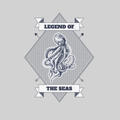 Legend of the seas Octopus Ocean Creature Short sleeve Unisex White T-shirt