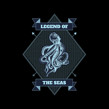 Legend of the seas Octopus Ocean Creature Short sleeve Unisex Black T-shirt