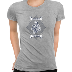 Legend of the seas Octopus Ocean Creature Short sleeve Women Grey T Shirt