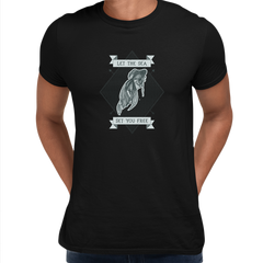 Let the sea set you free Fish Ocean Scuba Diving Sailor Unisex Black T-shirt